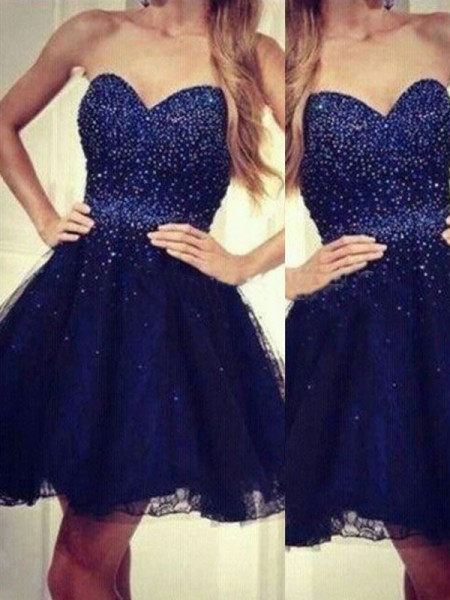 Fashion A-Line/Princess Sleeveless Beading Sweetheart Short/Mini Tulle Dresses