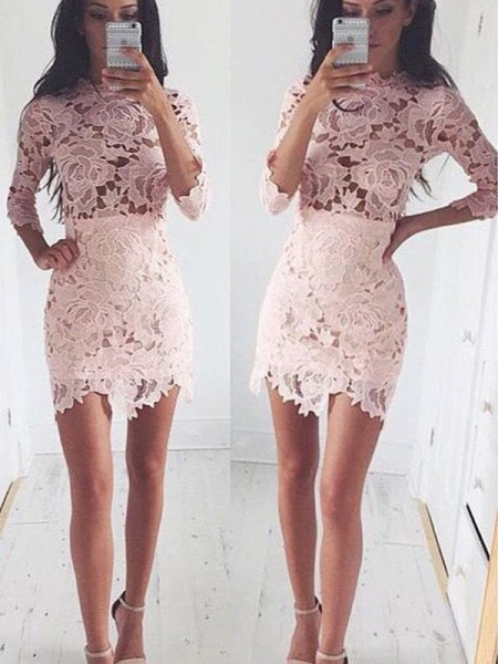 Stylish A-Line/Princess Scoop Lace 1/2 Sleeves Short/Mini Dresses