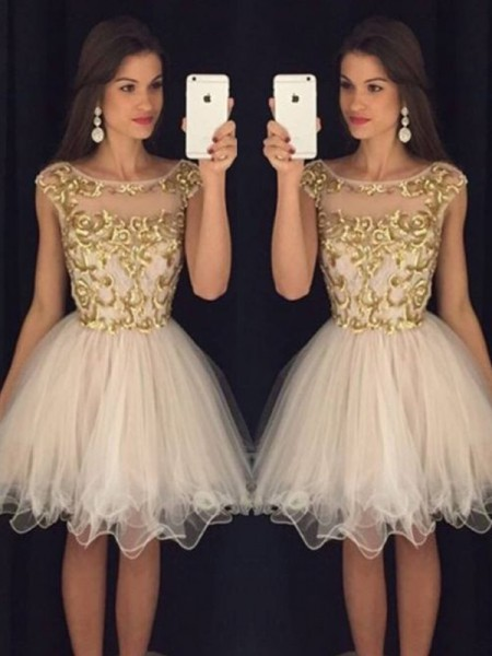 Stylish A-Line/Princess Scoop Paillette Sleeveless Tulle Short/Mini Dresses