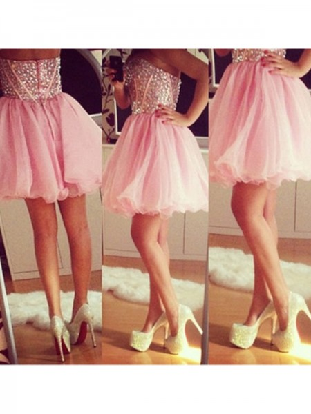 Stylish A-Line/Princess Sweetheart Beading Sleeveless Tulle Short/Mini Dresses