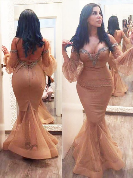 Fashion Trumpet/Mermaid Silk like 3/4 Sleeves Satin Off-the-shoulder Beading Floor-Length Plus Size Dresses