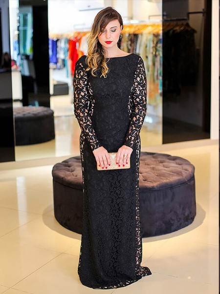 Stylish Sheath/Column Lace Long Sleeves Scoop Floor-Length Plus Size Dresses