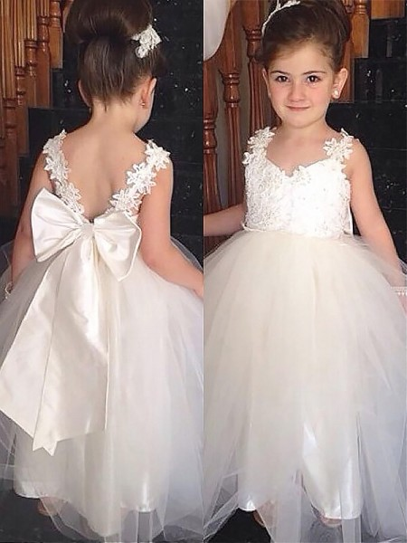 Fashion Ball Gown Floor-Length Bowknot Sleeveless Sweetheart Tulle Flower Girl Dresses