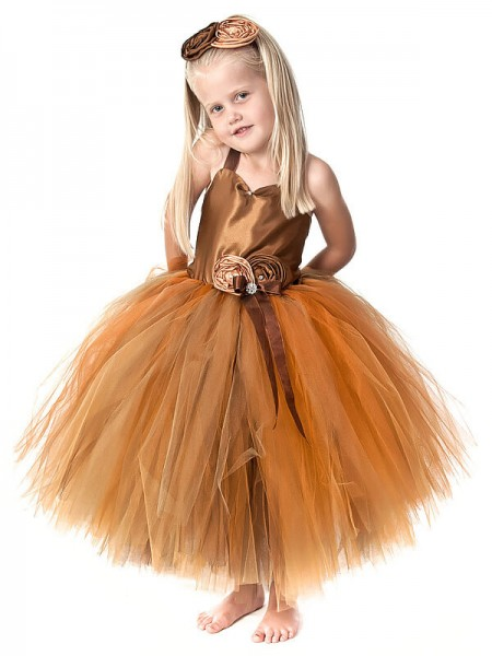 Stylish Ball Gown Flower Hand-Made Sleeveless Straps Tea-Length Tulle Flower Girl Dresses