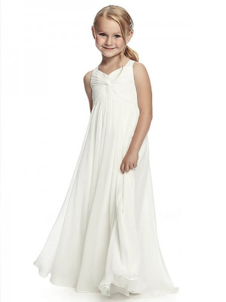 Fashion A-Line/Princess Floor-Length Ruched Straps Sleeveless Chiffon Flower Girl Dresses
