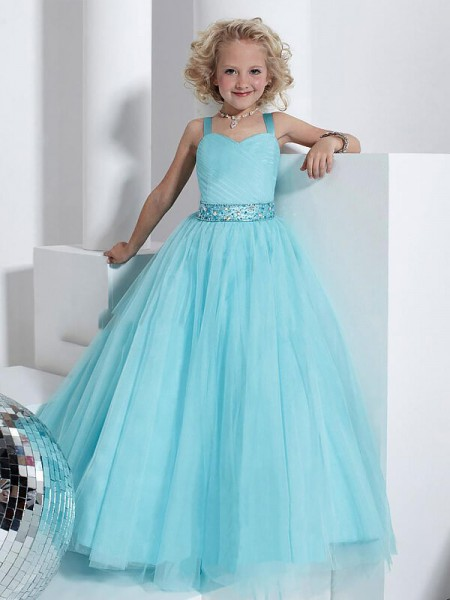 Fashion Ball Gown Floor-Length Crystal Sleeveless Straps Tulle Flower Girl Dresses