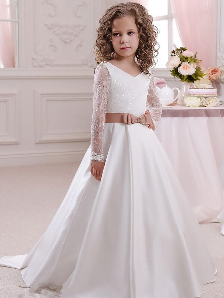 Stylish Ball Gown Floor-Length Lace Long Sleeves V-neck Satin Flower Girl Dresses