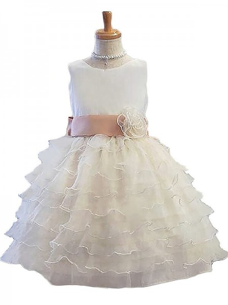 Stylish A-Line/Princess Flower Hand-Made Jewel Sleeveless Tulle Short/Mini Flower Girl Dresses