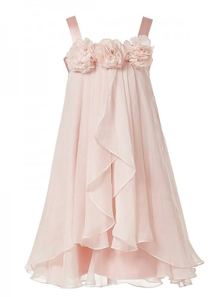 Stylish A-Line/Princess Flower Hand-Made Straps Sleeveless Chiffon Ankle-Length Flower Girl Dresses