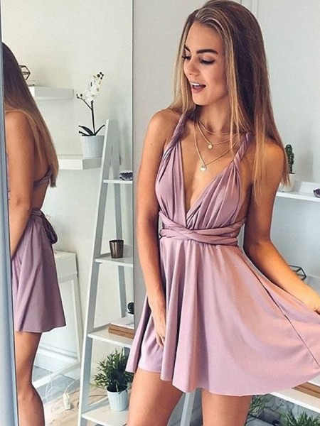 Stylish A-Line/Princess Silk Short/Mini Sleeveless V-neck like Satin Dresses