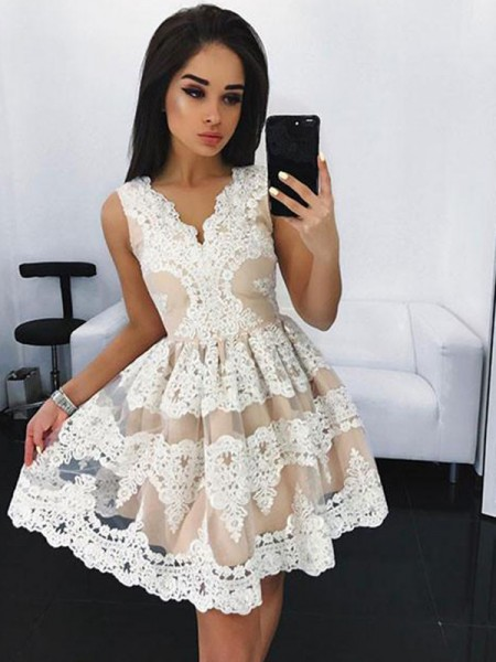 Stylish A-Line/Princess Short/Mini Lace Sleeveless V-neck Tulle Dresses