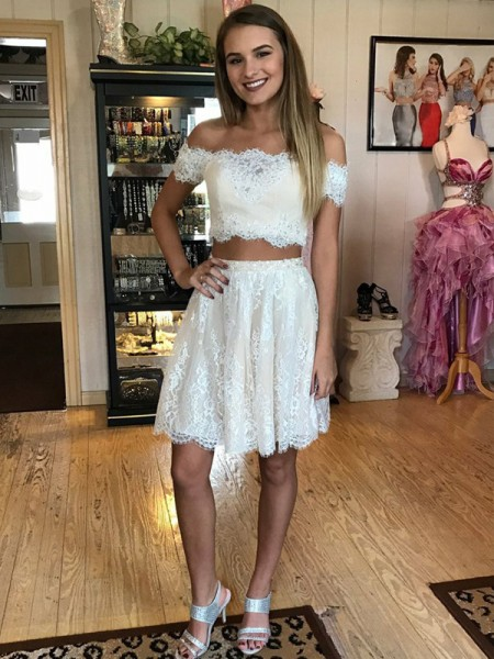 Fashion A-Line/Princess Lace Short/Mini Sleeveless Off-the-Shoulder Two Piece Dresses