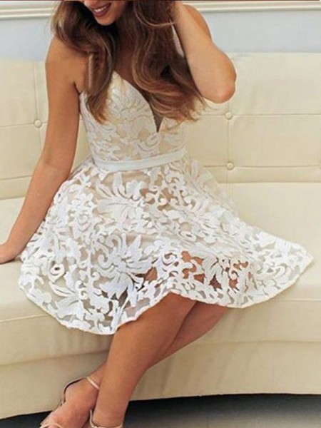 Stylish A-Line/Princess Lace Short/Mini Sleeveless V-neck Dresses