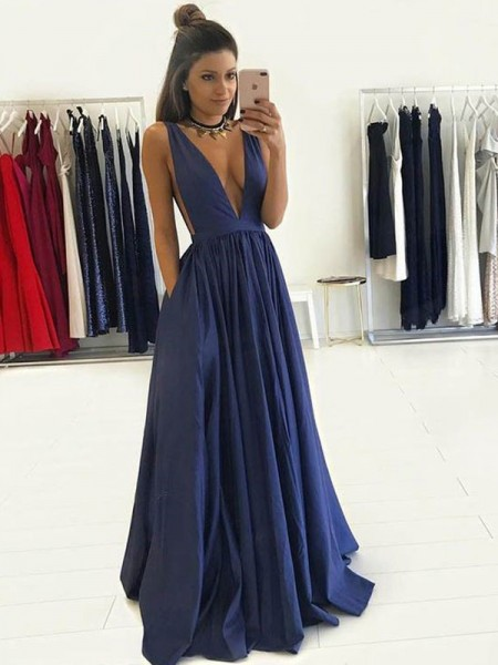 Stylish A-Line/Princess Sleeveless Floor-Length V-neck Taffeta Dresses