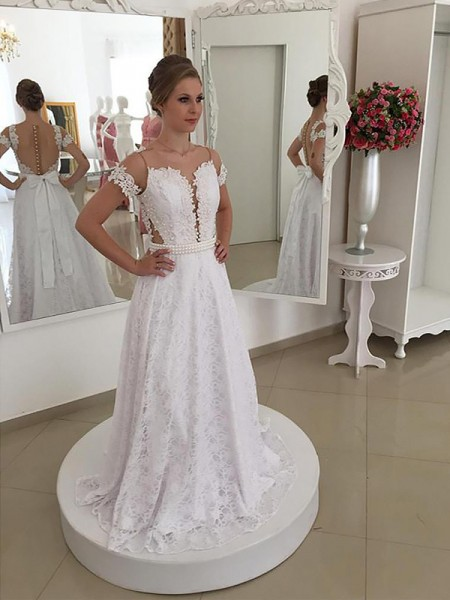 Sweep/Brush Train A-Line/Princess Short Sleeves Scoop Lace Wedding Dresses