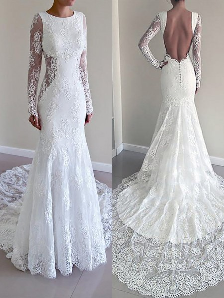 Court Train Trumpet/Mermaid Long Sleeves Scoop Lace Wedding Dresses