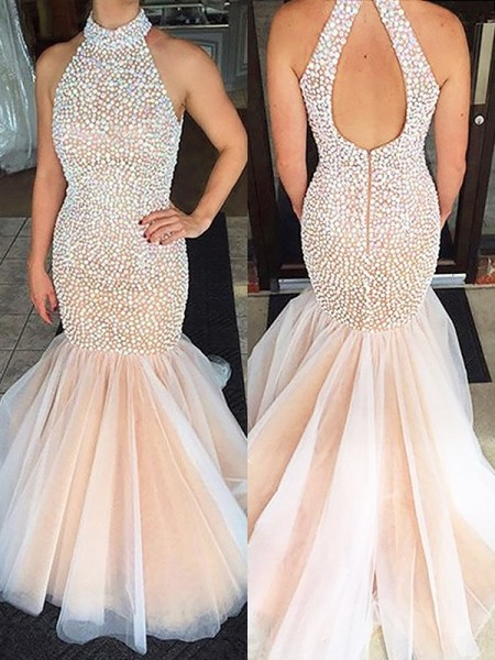 Fashion Trumpet/Mermaid Sleeveless Beading Halter Tulle Floor-Length Dresses