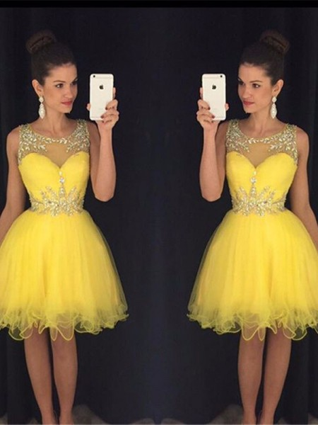Fashion A-Line/Princess Sleeveless Beading Scoop Tulle Short/Mini Dresses