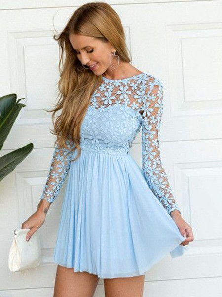 Stylish A-Line/Princess Long Sleeves Lace Scoop Short/Mini Chiffon Dresses