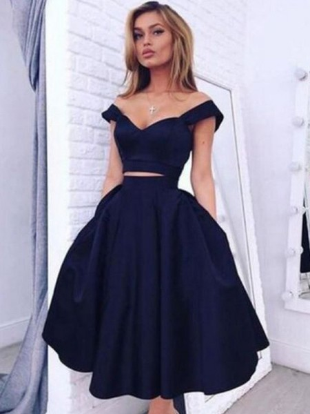 Fashion A-Line/Princess Sleeveless Knee-Length Off-the-Shoulder Satin Two Piece Dresses