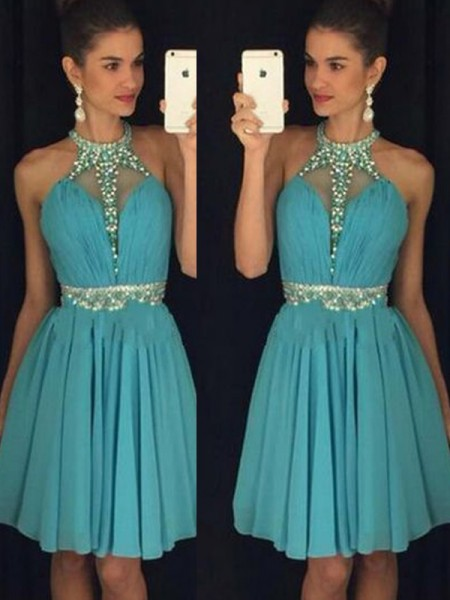 Fashion A-Line/Princess Halter Short/Mini Sleeveless Beading Chiffon Dresses