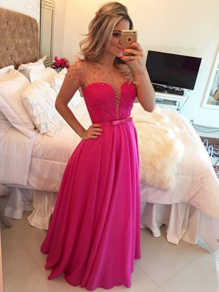 Fashion A-Line/Princess Short Sleeves Beading Scoop Floor-Length Chiffon Dresses