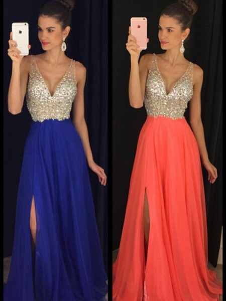 Fashion A-Line/Princess Sleeveless Beading V-neck Floor-Length Chiffon Dresses