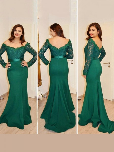 Stylish Trumpet/Mermaid Long Sleeves Applique Off-the-Shoulder Floor-Length Satin Dresses