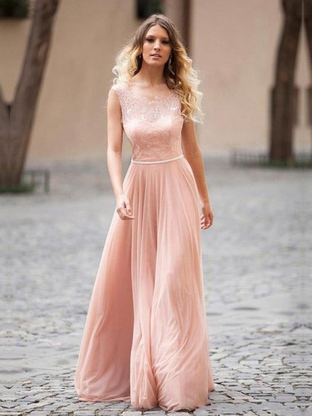 Stylish A-Line/Princess Sleeveless Applique Scoop Floor-Length Chiffon Dresses