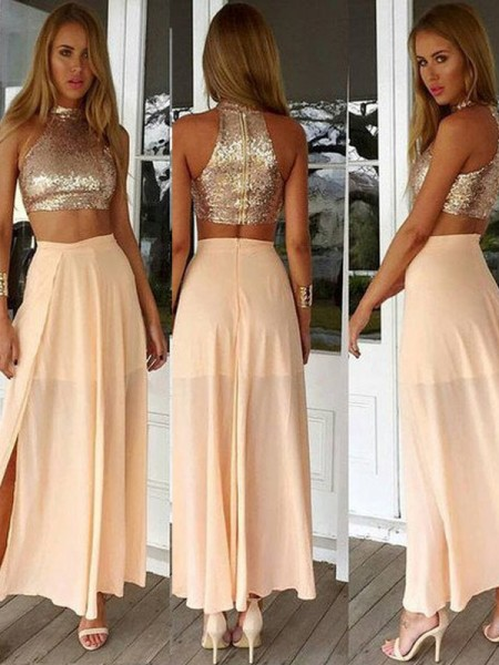 Fashion A-Line/Princess Sleeveless Sequin High Neck Chiffon Ankle-Length Dresses