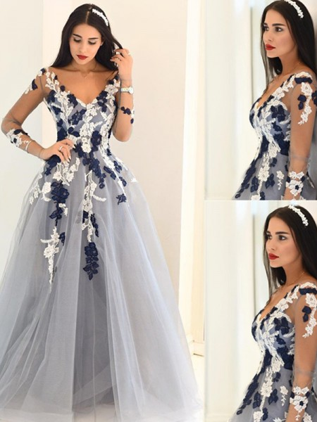 Stylish A-Line/Princess Long Sleeves Applique V-Neck Tulle Sweep Train Dresses