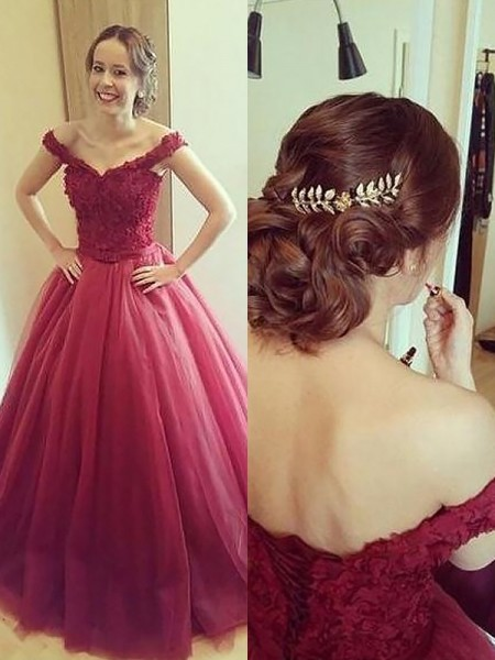 Fashion Ball Gown Applique Sleeveless Off-the-Shoulder Court-Train Tulle Dresses