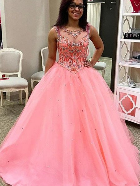 Fashion Ball Gown Sleeveless Tulle Sweetheart Beading Floor-Length Dresses