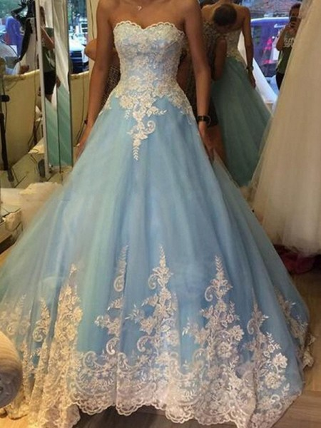 Stylish Ball Gown Applique Sleeveless Sweetheart Tulle Sweep/Brush Train Dresses