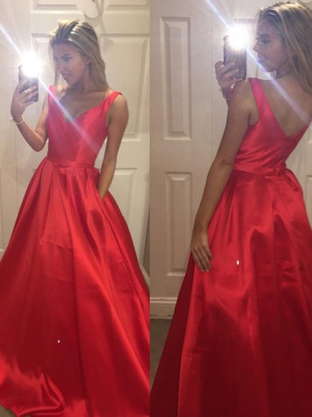 Fashion A-Line/Princess Sleeveless Satin V-Neck Sweep/Brush Train Dresses