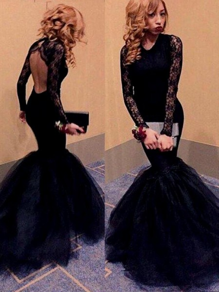 Fashion Trumpet/Mermaid Scoop Lace Long Sleeves Floor-Length Tulle Dresses