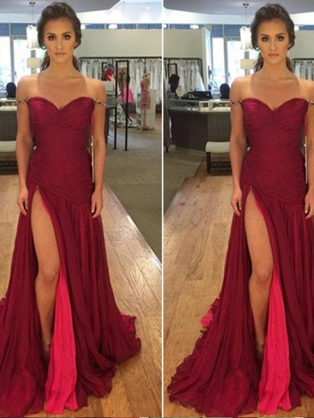 Fashion A-Line/Princess Sleeveless Floor-Length Off-the-Shoulder Chiffon Dresses