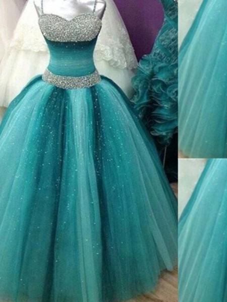 Stylish Ball Gown Straps Sleeveless Spaghetti Beading Tulle Floor-Length Dresses