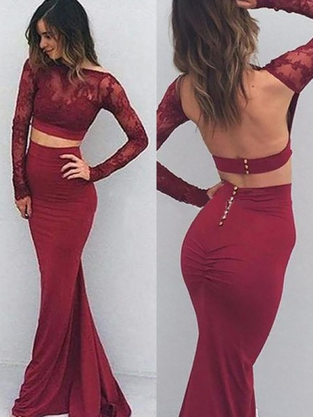 Stylish Trumpet/Mermaid Spandex Long Sleeves Bateau Floor-Length Dresses