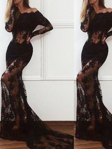 Fashion Trumpet/Mermaid Long Sleeves Sweep/Brush Off-the-Shoulder Train Lace Dresses