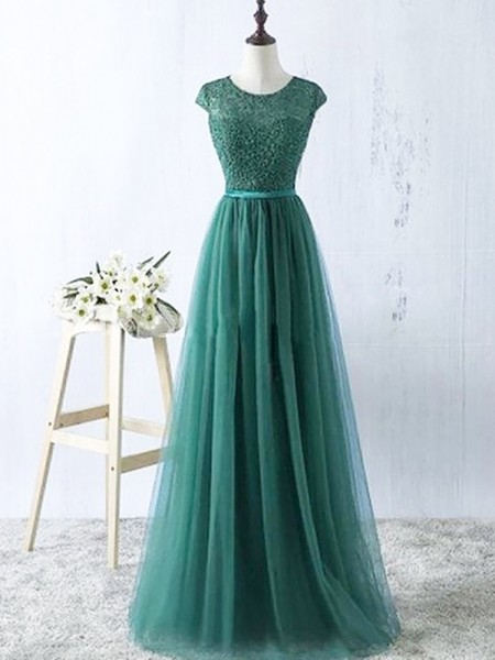 Stylish A-Line/Princess Sleeveless Tulle Scoop Floor-Length Dresses