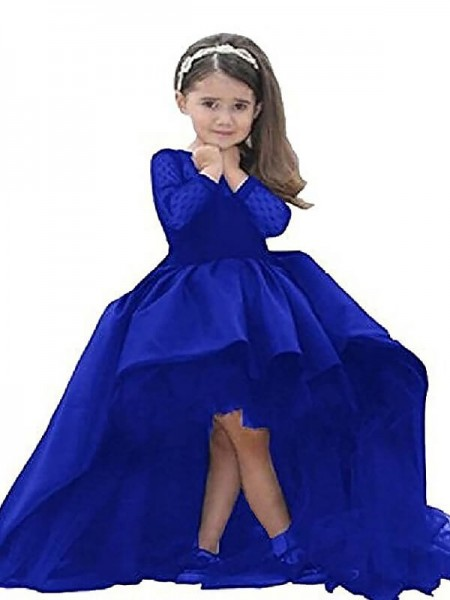 Fashion Ball Gown Floor-Length Sash/Ribbon/Belt Long Sleeves Scoop Satin Flower Girl Dresses