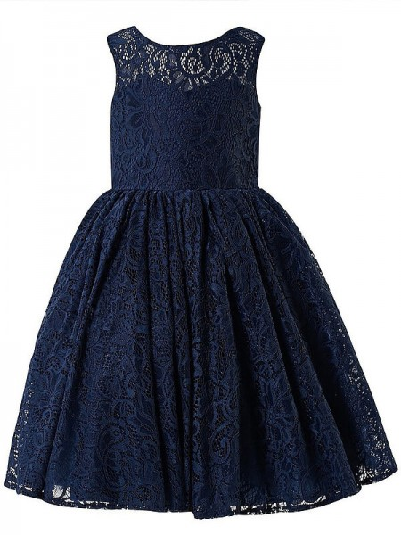 Fashion A-line/Princess Tea-Length Lace Sleeveless Scoop Flower Girl Dresses