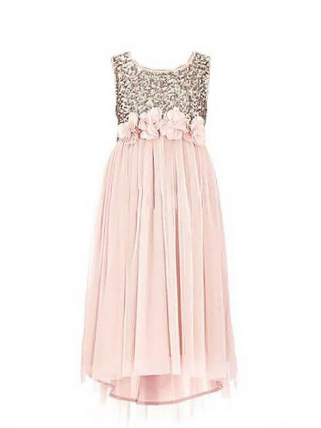 Stylish A-line/Princess Chiffon Sequin Sleeveless Scoop Floor-Length Flower Girl Dresses