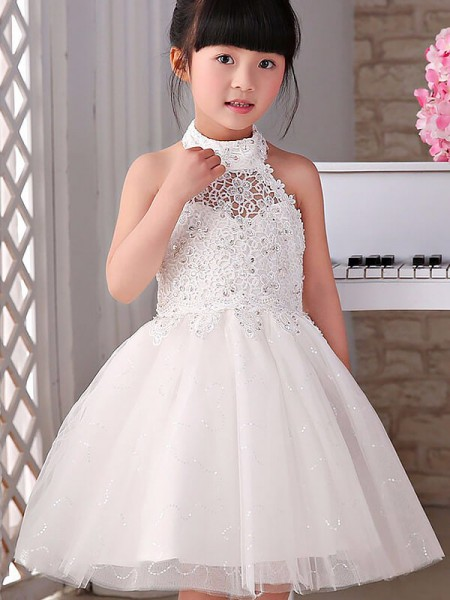 Fashion A-line/Princess Tulle Beading Sleeveless Halter Knee-Length Flower Girl Dresses