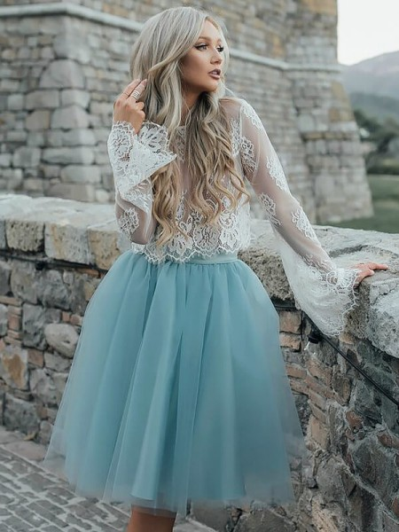Fashion A-Line/Princess Tulle Short/Mini Long Sleeves Scoop Dresses