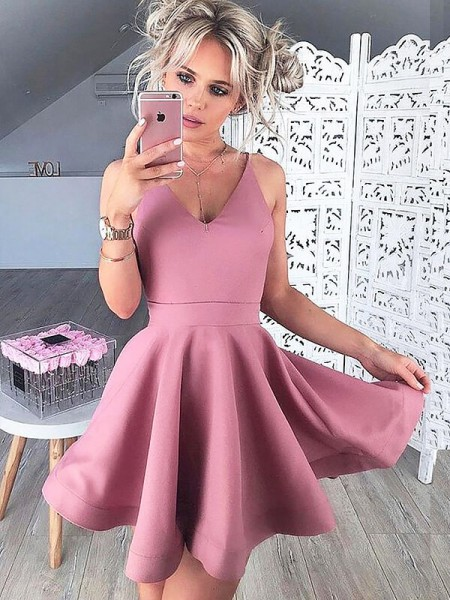 Fashion A-Line/Princess Short/Mini Sleeveless Satin V-neck Dresses