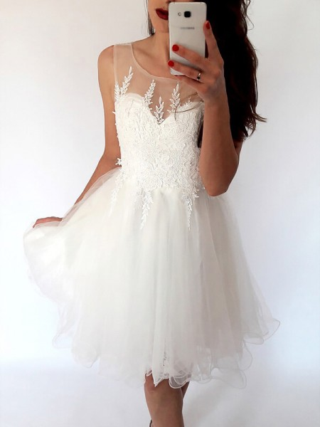 Stylish A-Line/Princess Short/Mini Tulle Sleeveless Scoop Dresses