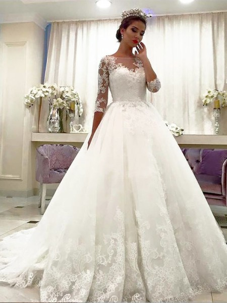 Court Train Ball Gown 3/4 Sleeves Bateau Tulle Wedding Dresses