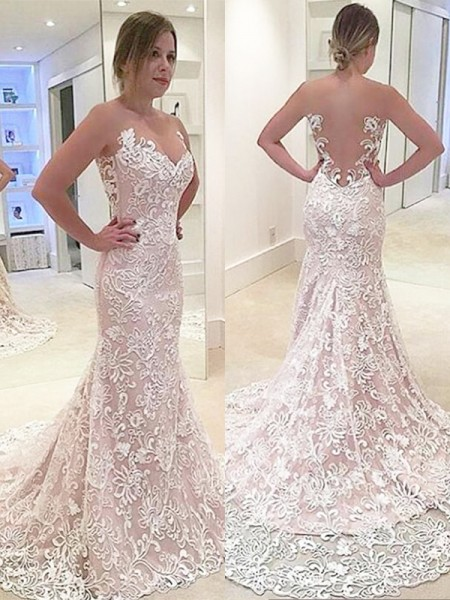 Sweep/Brush Train Trumpet/Mermaid Sleeveless Sweetheart Lace Wedding Dresses